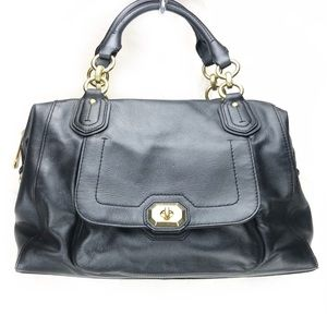 Coach Campbell Izzy Turnlock black Leather satchel